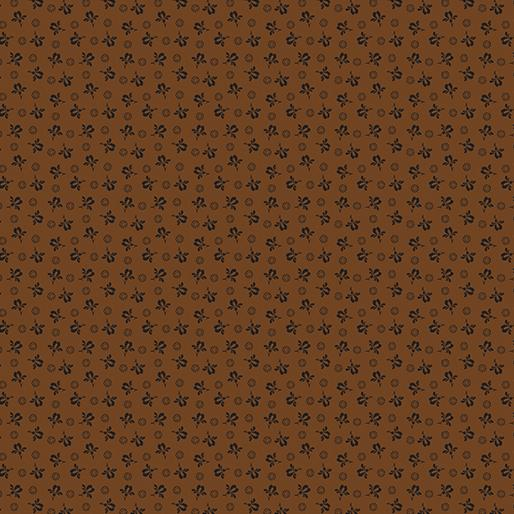 Benartex  by Rose Ann Cook, Modern Antiques, Rose Buds Brown, 2140-77
