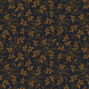 Benartex  by Rose Ann Cook, Modern Antiques, Leaves Navy, 2144-55
