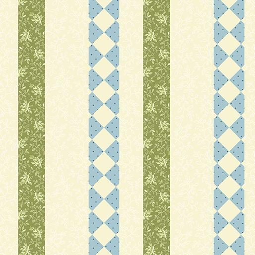 Benartex  by Rose Ann Cook, Modern Antiques, Borders Teal, 2148-84