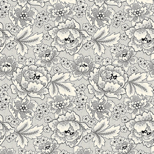 QT Fabrics, Colebrook Large Linear Floral, Cream/Black 26010-EJ