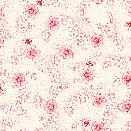QT Fabrics, Colebrook Floral & Leaf Toss, Cream/Red, 26011-ER