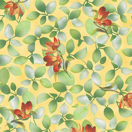 QT Fabrics, Belle, Flower & Leaf, 26419-S, Sunlight