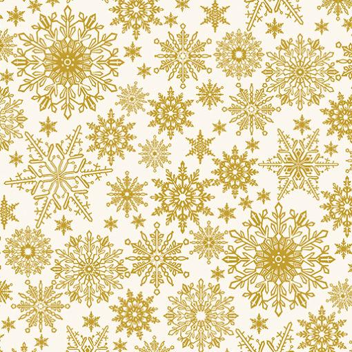 Benartex, A Festive Season, Metallic Snowflake, Cream, 2650M-07