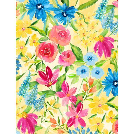 Wilmington Prints, Bloom Time, Pink, Blue and Yellow, Large Flowers on Yellow Background, 3021-10502-534