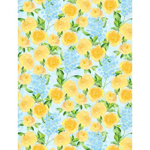 Wilmington Prints, Bloom Time, Blue and Yellow Flowers on Blue Background, 3021-10504-454