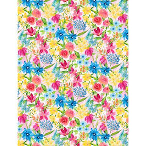 Wilmington Prints, Bloom Time, Small Flowers, Pink, Yellow and Blue on Pink Background, 3021-10505-334