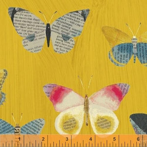 Windham Fabrics, Wonder, Newspaper, Butterfly, Mustard, 50515-5