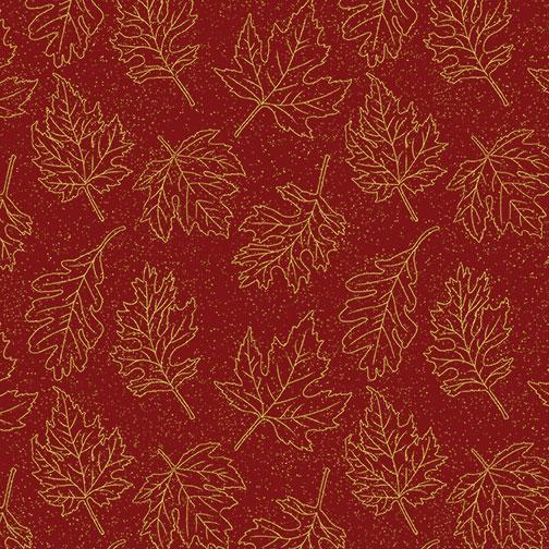 Benartex, Autumn Leaves, Leaf Outline, Gold on Dark Red, 5435M-19