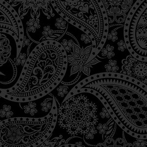 Benartex, Jubilee, Paisley, Wide Quilt Back, Black, 5490W-12