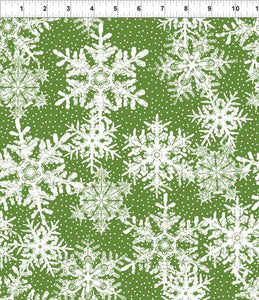 In The Beginning Fabrics, Winter Twist, Snowflakes, Green, 6WT 3