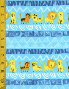 Clothworks, Serengeti Beasties, (Organic Cotton) Medium Pictorial Stripe, Aqua, Y1777-33