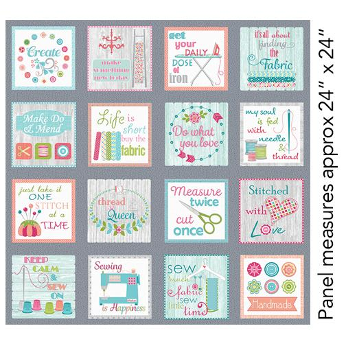Benartex, My Happy Place, Sew Wordy, Panel, Multi, 07951-99