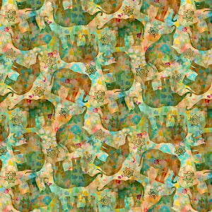 Wilmington Prints, Bohemian Dreams, Tossed Elephants Golden-Green, 1077-89192-573