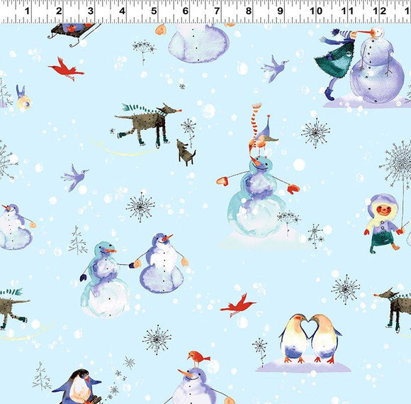 Clothworks, Winter Love, Toile, Snowman Toss, Y2498-29