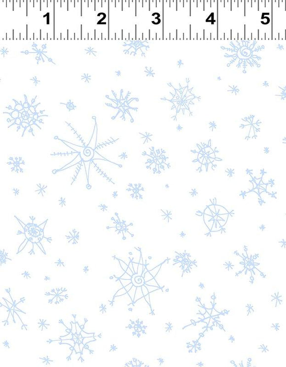 Clothworks, Winter Love, Medium Toss 2, White/Blue Snowflakes, Y2501-01
