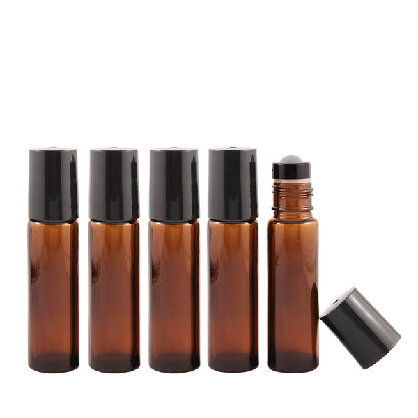10ml Amber Roller Bottle with Black Lid
