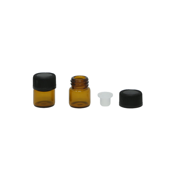 1/4 Dram (1ml) Amber Glass Vial with Orifice Reducer