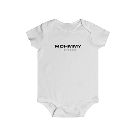 Mohmmy Know Best . Black Print . Infant Rip Snap Tee