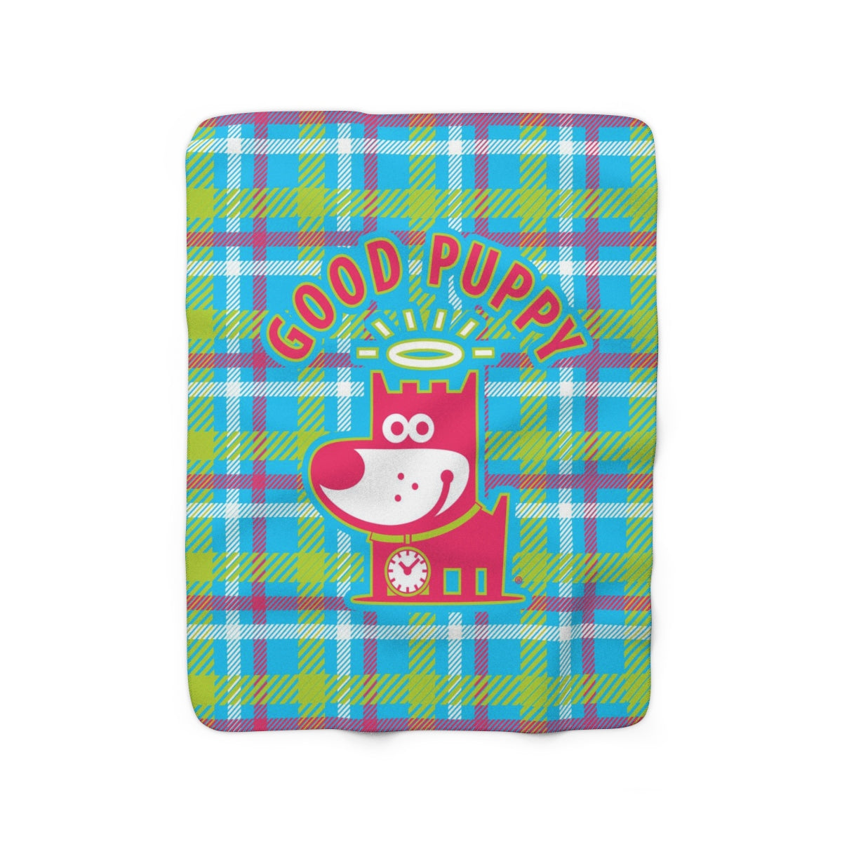Good Puppy Plaid III Green . Sherpa Fleece Blanket