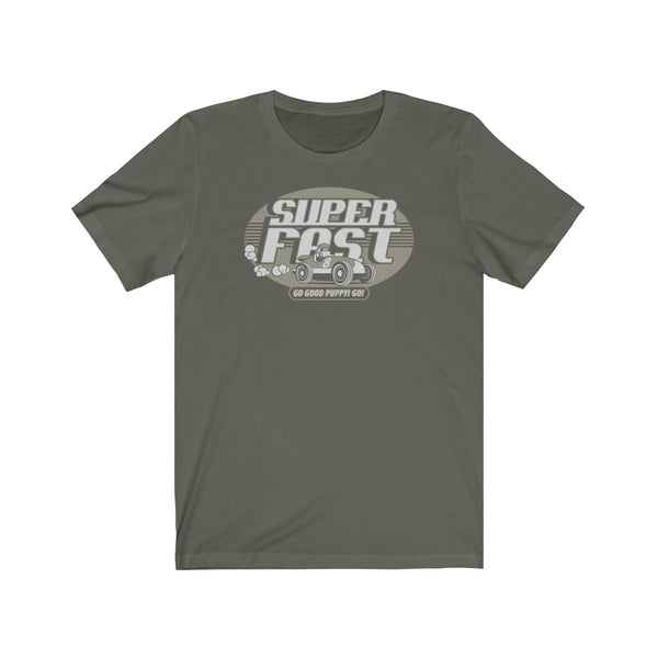 GOOD PUPPY VINTAGE . Super Fast . Gray Print . Unisex Jersey Short Sleeve Tee
