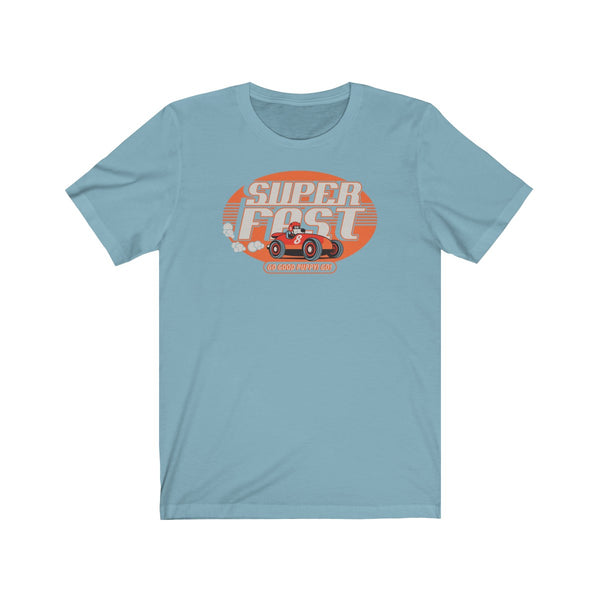 GOOD PUPPY VINTAGE . Super Fast . Orange Print . Unisex Jersey Short Sleeve Tee