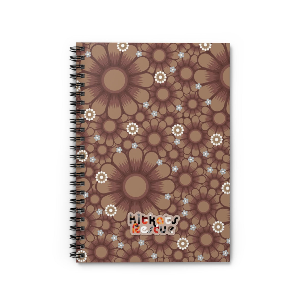 KitKats Rescue . Taupe Flower Bed . Spiral Notebook - Ruled Line