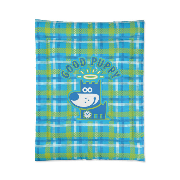 Good Puppy Plaid I Green . Comforter . Small