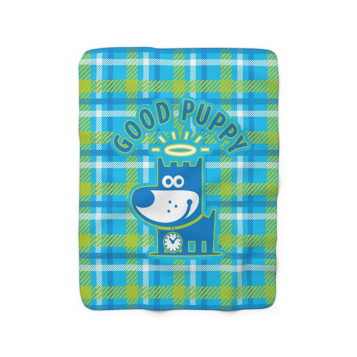Good Puppy Plaid I Green . Sherpa Fleece Blanket