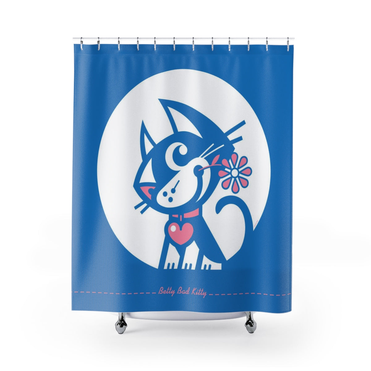 Betty Bad Kitty MoonFlower I . Shower Curtain