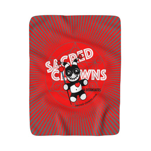 SACRED-CLOWNS . Logo . Sherpa Fleece Blanket . Red