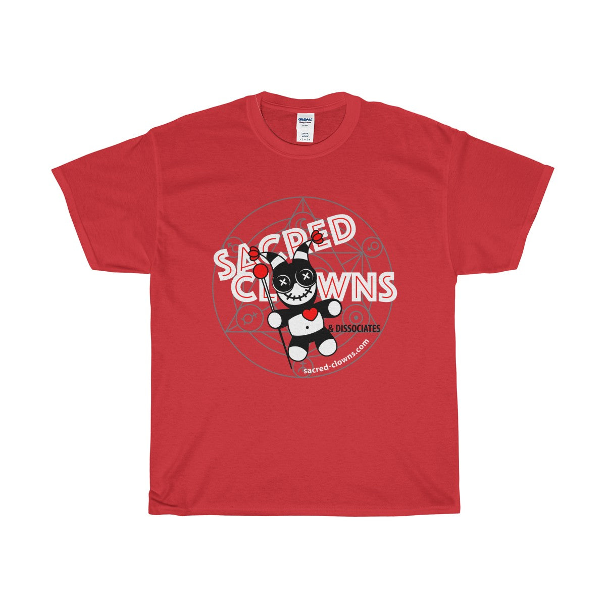 SACRED-CLOWNS . Logo . Unisex Heavy Cotton Tee . Red