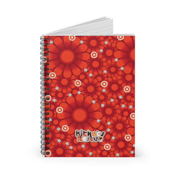 KitKats Rescue . Red Flower Bed . Spiral Notebook - Ruled Line