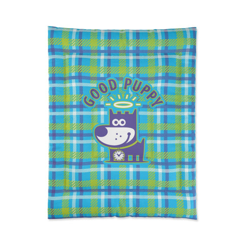 Good Puppy Plaid II Green . Comforter . Small