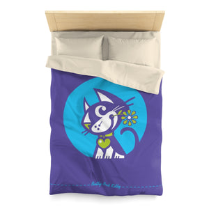Betty Bad Kitty . Moon Flower II . Duvet Cover . Twin