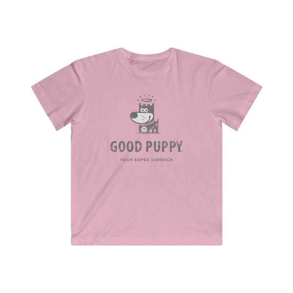 GOOD PUPPY . Logo . Gray Print . Kids Fine Jersey Tee