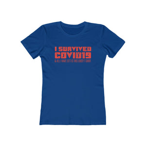I Survived COVID19 . Orange Print . Women's The Boyfriend Tee