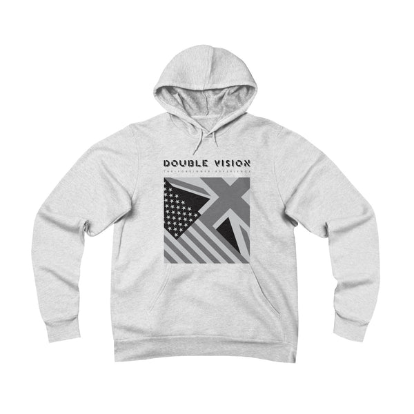 Double Vision . Black On Light . Unisex Sponge Fleece Pullover Hoodie