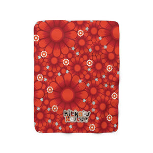 KitKats Rescue . Red Flower Bed . Sherpa Fleece Blanket
