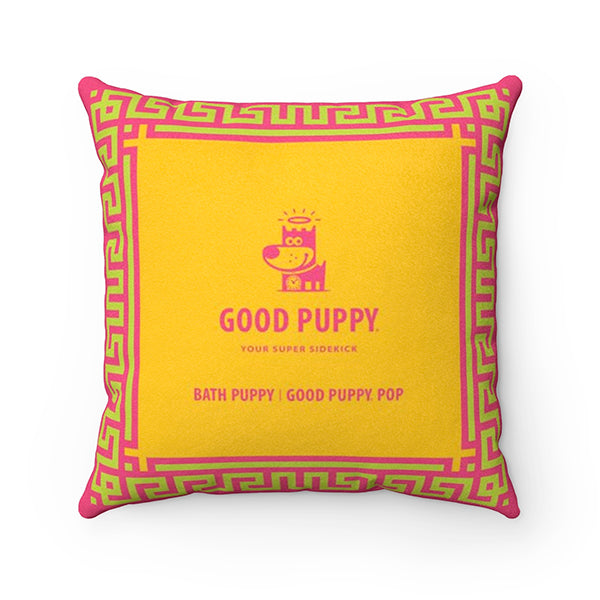 Bath Puppy Good Puppy Faux Suede Square Pillow Accent For Children's Bedroom Decor