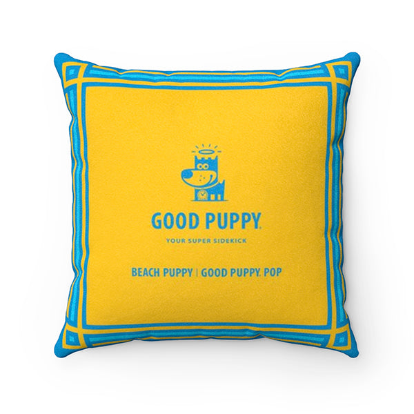 Beach Puppy - Good Puppy Faux Suede Square Pillow Accent For Children's Bedroom