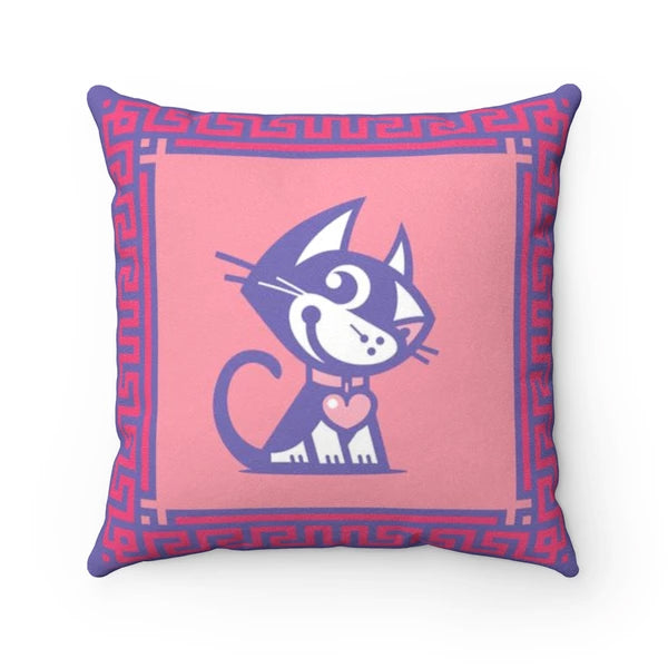 Betty Bad Kitty Good Puppy Faux Suede Square Pillow Accent For Children's Bedroom Decor