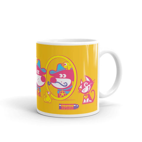 The Good Puppy Gang Children's Ceramic Mug Yellow and Hot Pink