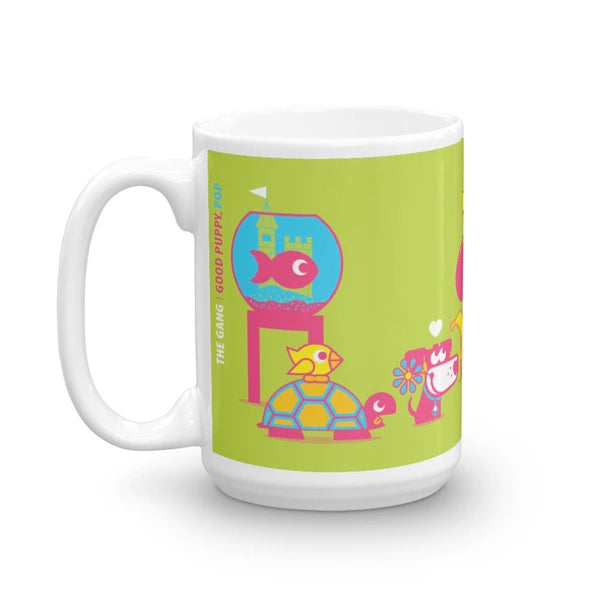 The Good Puppy Gang Children's Ceramic Mug Green and Hot Pink