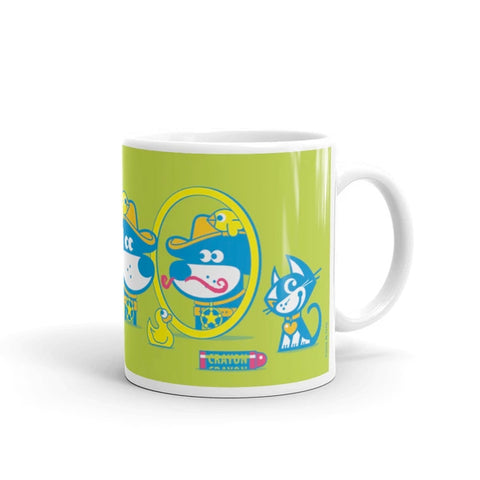 The Good Puppy Gang Children's Ceramic Mug Green and Blue