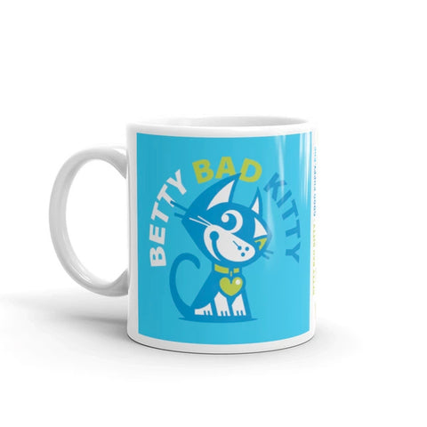 Betty Bad Kitty Good Puppy Children's Character Ceramic Mug Green Blue
