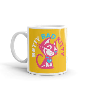 Betty Bad Kitty Good Puppy Children's Character Ceramic Mug Orange Blue Hot Pink