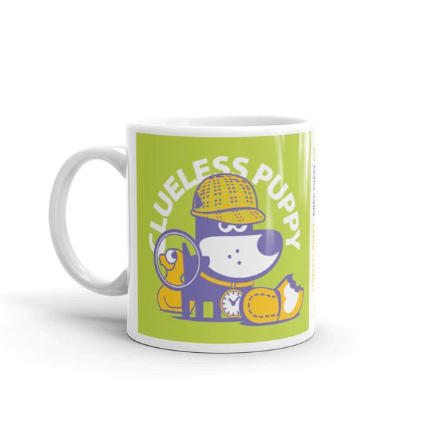 Clueless Puppy Good Puppy Children's Character Ceramic Mug Purple Green Orange