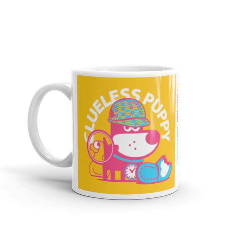 Clueless Puppy Good Puppy Children's Character Ceramic Mug Blue Yellow Hot Pink