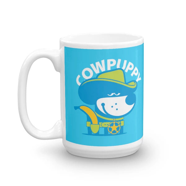 Good Puppy Children's Character Ceramic Mug Blue Green