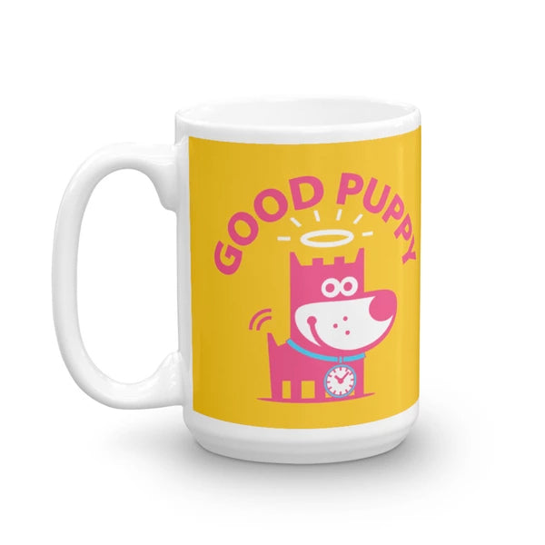 Good Puppy Children's Character Ceramic Mug Yellow Blue Hot Pink
